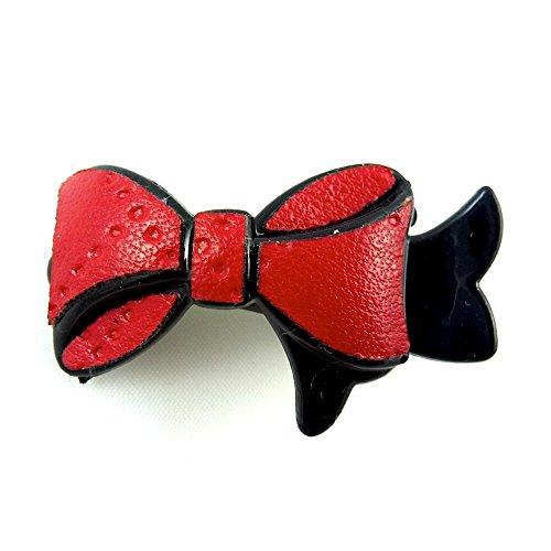 rougecaramel - Accessoires cheveux - Mini pince cheveux fantaisie forme noeud - rouge