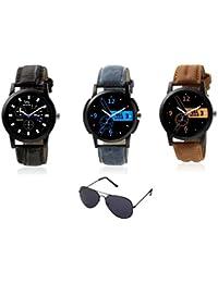 WM Stylish Quartz Analog Watches Leather Multicolor Combo For Men And Boys WMC-001-003-004-WMG-002aeons