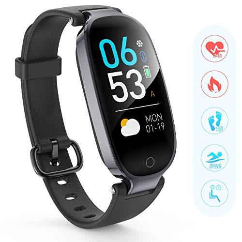 AGPTEK Fitness Tracker für Damen, IP68 Wasserdicht Fitnessarmband mit GPS Aktivitätstracker, Pulsmesser, Schrittzähler Fitness Uhr Pulsmesser Schlafmonitor Kalorienzähler, Smartwatch, Schwarz