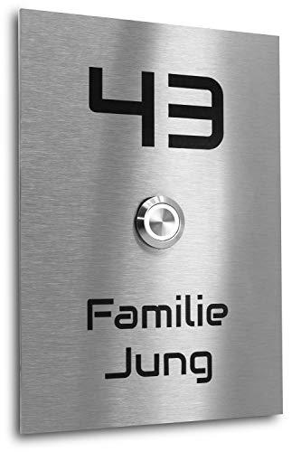 Edelstahl Klingelplatte New York XL Größe 170 X 120 X 3 mm V2A Edelstahl Gravur LED Taster (weiß) Edelstahlklingel Haustürklingel Klingel Türklingel