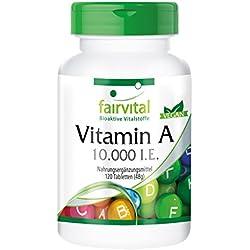 Vitamin A 10.000 I.E. - GROSSPACKUNG für 4 Monate - HOCHDOSIERT - VEGAN - 120 Tabletten - Retinylacetat