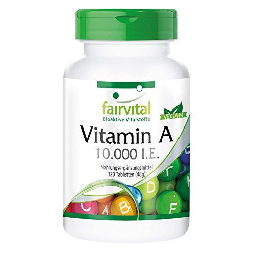 Vitamina A 10000 UI - Bote para 4 meses - 120 comprimidos