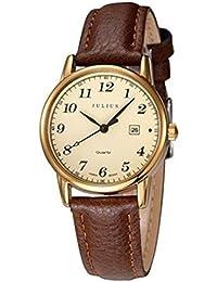 6e996f9f6c0b Julius JA-508 hembra oro tono árabe numeral cuarzo analógica moda casual  calendario reloj de pulsera mujer de negocios…