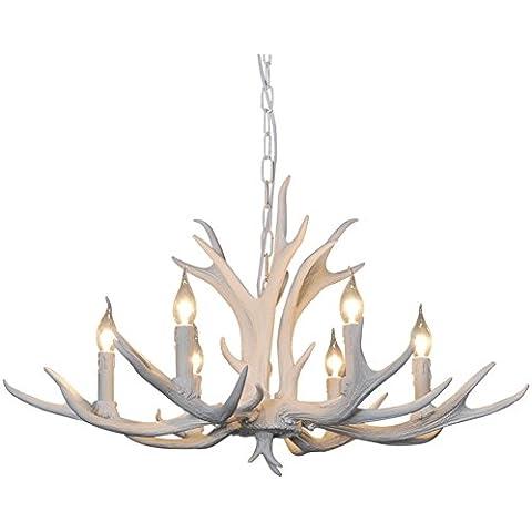 Shengdi corno di cervo 6-Light ferro industriale vintage lampadario a soffitto della lampada della lampada per Ristorante balcone Camera con paralume 1027C-6-1it (White)