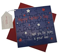 Idea Regalo - WHITE COTTON CARDS Biglietto d'auguri per festa del papà, con scritta in lingua inglese: Happy Father's Day Thank You for Being a Great Dad, motivo: puzzle