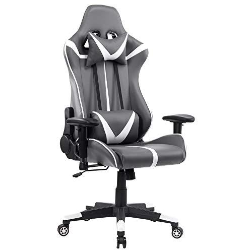 WOLTU® Racing Stuhl Gaming Stuhl Bürostuhl Schreibtischstuhl Sportsitz mit Armlehne, mit Kopfstütze und Lendenkissen, höhenverstellbar, dick gepolsterte Sitzfläche aus Kunstleder, Grau+Weiß, BS13grw