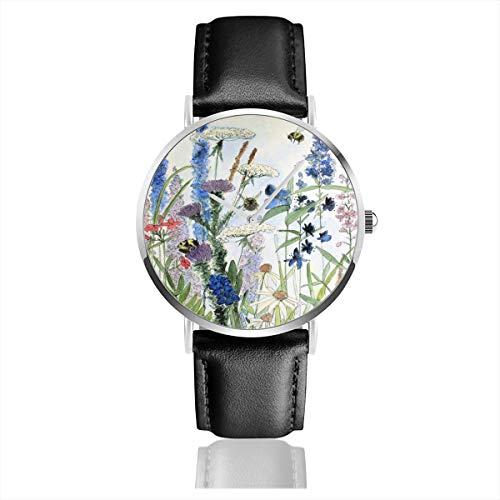 Armbanduhr, Motiv: Wildblume im Garten, Aquarell-Blumen-Illustration, Edelstahl, klassisches Lederarmband -