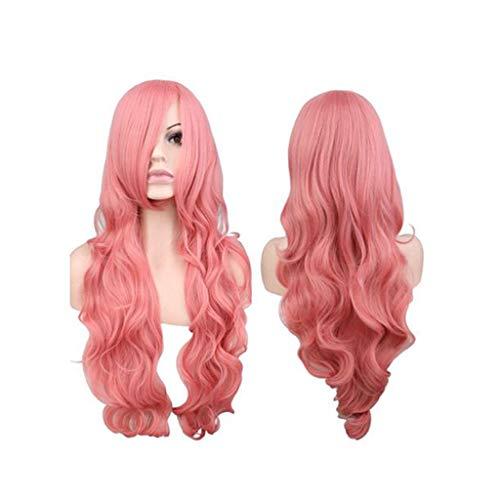 DYHOZZ Perücken, rosa langes lockiges Haar, langes lockiges Haar Kunsthaarperücke Cap-26in - Pink Filmstar Kostüm