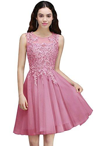 Damen Prinzessin Tüll V-Ausschinitt Brautjungfernkleid Hochzeitskleid Perlstickerei Kurz Altrosa 38