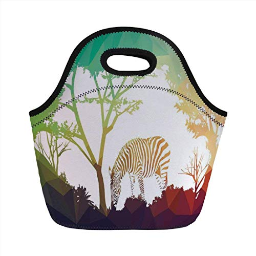 Portable Bento Lunch Bag,Wildlife Decor,Digital Zebra Figure in Fractal Display Vivid Colors A Look at Kenya Illustration,Multi,for Kids Adult Thermal Insulated Tote Bags Zebra Color Inc
