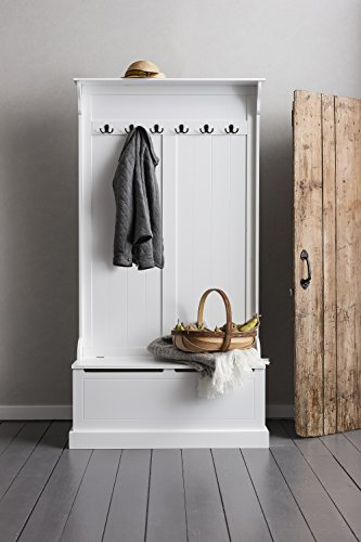 Brittany Hallway Bench and Coat Hook Shoe Storage in White Noa & Nani