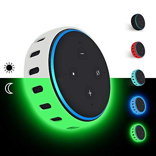 Hydream Silikon Schutzhülle für Echo Dot (3. Gen.) Smarter Lautsprecher, Leichte rutschfeste Stoßfeste Sprecher Silikonhülle Cover Hülle (im Dunkeln leuchten Grün)