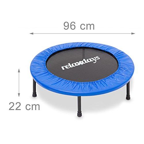 Relaxdays Fitness Trampolin, 91 cm Durchmesser, Indoortrampolin, belastbar bis 100 kg, Fitness und Ausdauertraining, blau - 3