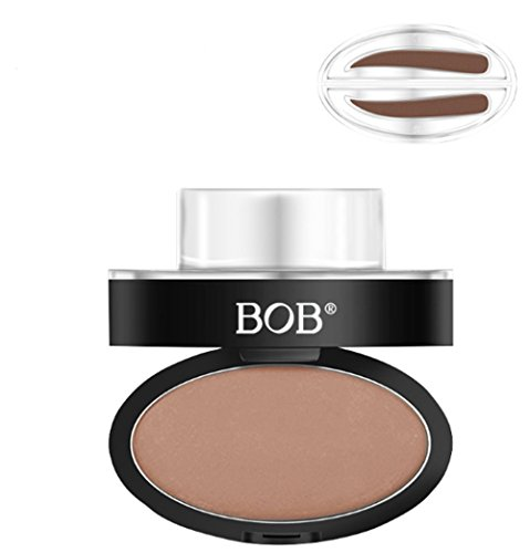 2 Formes/Set Eyebrow Enhancer Stamp Poudre Palette Avec Brosse Imperméable Make Eye Brow Shadow Seal Mode Coussin de sourcils de commodité plus nouveau (Marron clair)