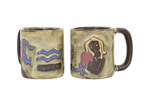 One (1) MARA STONEWARE COLLECTION - 16 Oz Coffee Cup Collectible Mug - Zodiac Sign - Aquarius The Water Bearer