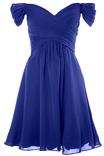 MACloth Women Off Shoulder Cocktail Dress 2018 Short Wedding Party Formal Gown Royal Blue