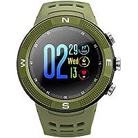 QAL Reloj Inteligente con Pantalla 3D, Nivel Exterior, Pantalla Táctil Impermeable Bluetooth, Ritmo Cardíaco, Paso, Recordatorio Inteligente, Reloj con Brújula,Green-OneSize