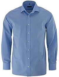 eterna Herren Modern Fit Uni Popeline Langarmhemd mittelblau Gr. 43