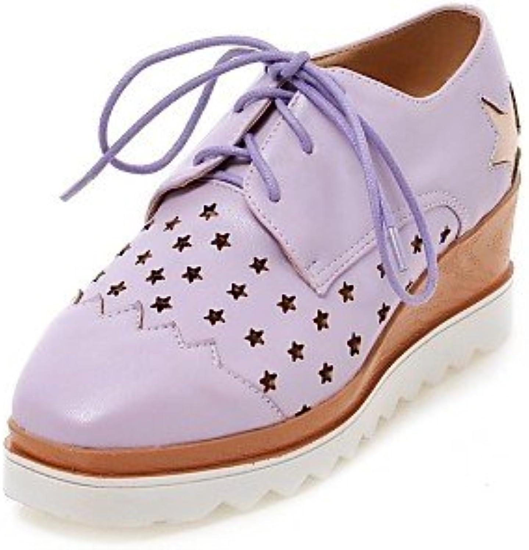 NJX/ Zapatos de mujer - Tacón Cuña - Tacones / Punta Redonda - Oxfords - Casual - Semicuero - Azul / Morado /...