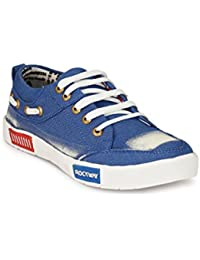 Antire Stylish Blue & White Casual Office Corporate Party Wear Canvas Sneaker Lace-Up Shoes For Men