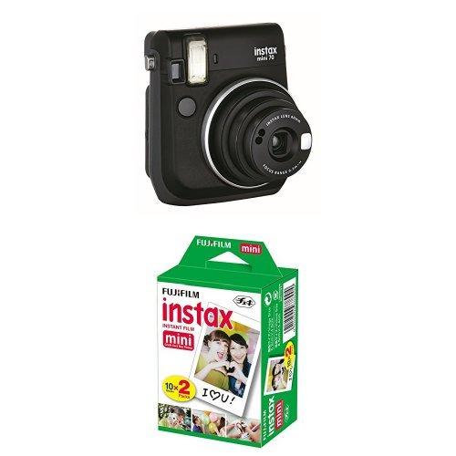 Fujifilm Instax Mini 70 Appareil Photo Instantané Noir + Fujifilm - Twin Films pour Instax Mini - 86 x 54 mm - Pack 2 x 10 Films - Photo Appareil