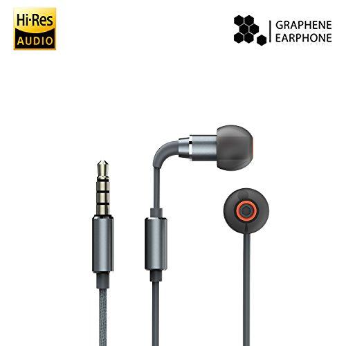 iHaper Auriculares In-ear con Cable con Micrófono, Auriculares Intrauditivos Hi-Res Certificado de Grafeno Hi-Fi Sonido Estéreo, Earbuds con Reducción de Ruido para Móviles de iOS o Android, PC y Reproductores MP3, con Bolsita de Transporte (Gris Espacial)