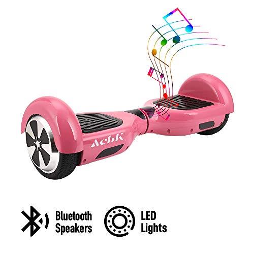 "ACBK - Patinete Eléctrico Hover Autoequilibrio con Ruedas de 6.5\"" (Altavoces Bluetooth + Luces Led integradas) Velocidad máxima: 10-12 km/h - Autonomía 10-20 km (Rosa)"