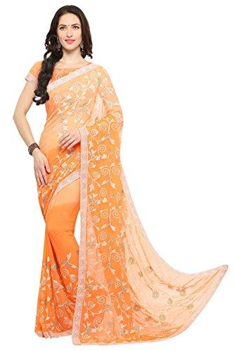 EthnicJunction Republic Day Special Saree Applique Lucknow Chikankari Style Chiffon Saree(EJ1168-7007,Orange)