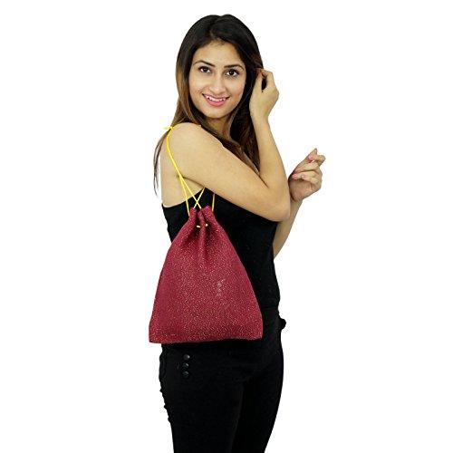 Designer Handmade indischen Fashion Damen Schnür Baumwolle Jute Potli Taschen Ziegelrot
