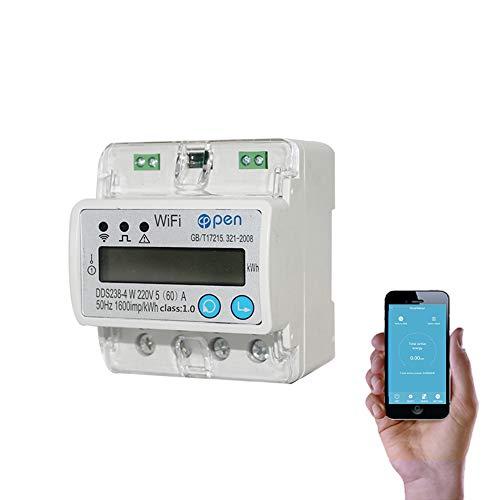 5(60) A 110V 230V 50HZ 60HZ digitaler Stromzähler EinphasenzählerSchiene Din WIFI Smart Energy Meter auf und unter Spannung Stromschutz RS485 Energiemessgerät