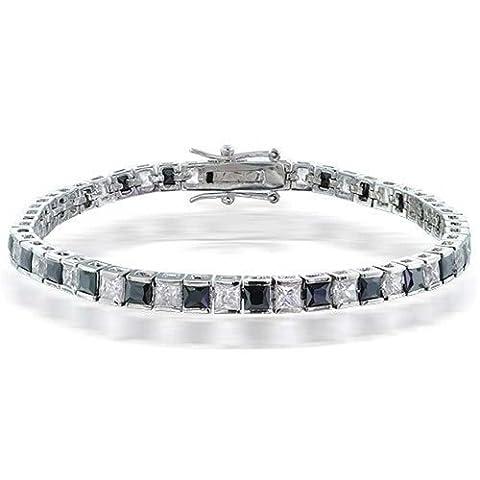 Bling Jewelry et Claire CZ Noir Bracelet Tennis 7en plaqué rhodium