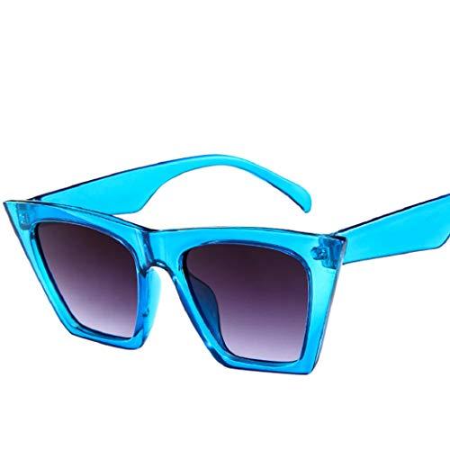 URSING Mode Damen Oversized Übergroße Sonnenbrille Vintage Retro Mode Katzenauge Brille Sonnenbrille Super Coole Damenbrillen Frauen Women Cat Eye Sunglasses Travel Eyewear (Blau)