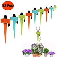 Betree 12 Pcs Self Plant Watering Spike,Adjustable Control Valve Switch Automatic Plants Watering Drippers System for Garden Outdoor Indoor