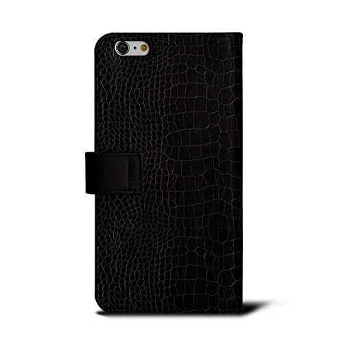 Lucrin - Étui Portefeuille iPhone 6 Plus - Marron - Veau Façon Crocodile Marron