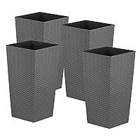 Simpa 27L 27 Litre Grey Large Square Rattan Planter Pot - 51cm (H) x 26.5cm (W) x 26.5cm (D) - Suitable for Indoor and Outdoor use.