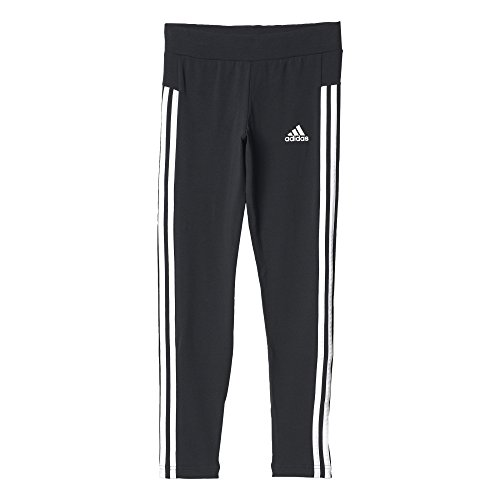 adidas Mädchen YG 3-Stripes Tights, Black/White, 128 (3-stripes Tights Kurze)