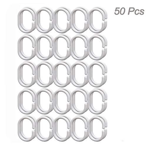 Creatiees 50pcs bagno drappo loop chiusura, plastica anelli per tenda doccia, rivestimento tenda tendaggi ganci gancio per asta doccia bagno (2,5cm bianco)