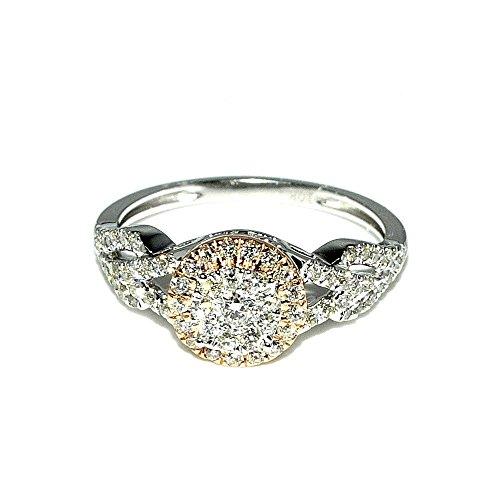 Midwest-Parure da donna con diamante 1/2Cttw-Anello di fidanzamento in oro bianco e rosa, due tonalità, 8,5 mm, 0,5Cttw I, J,)