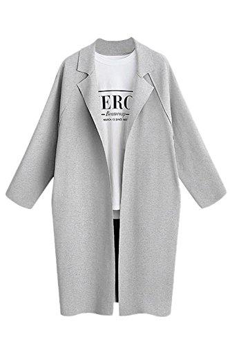 Les Femmes Veste Patchwork Simple Long Cardigan Trenchcoat Vêtements Grey