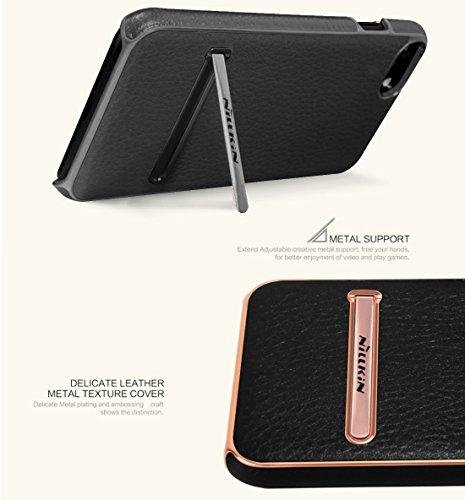 iPhone Case Cover NILLKIN Housse de série M-JARL pour iPhone 7 Business Style Litchi Texture Housse en cuir de protection PC pour PC avec support en métal ( Color : Brown ) Black