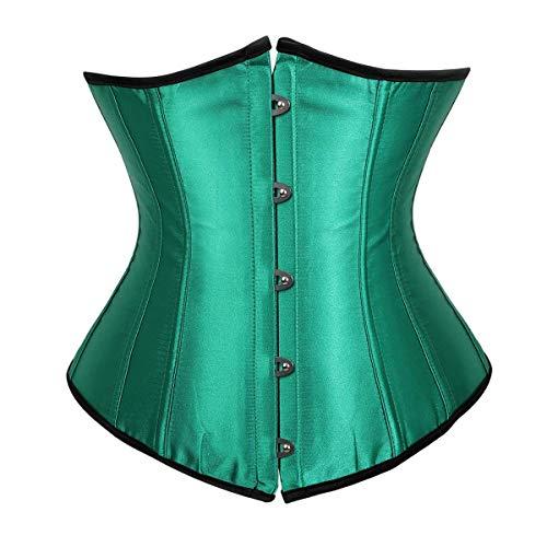 Danna sottoseno corsetto waist trainer corpetto bustino body shaper modellante rinforzato con stecche verde xl