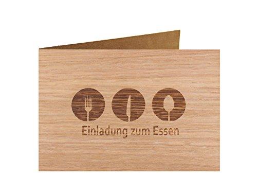 Holzgrußkarte - Spruchkarte - 100{5204a5145db654d723db448e9df1af83aec699873af1f2a9492b626c3603ad7d} handmade in Österreich - Postkarte Glückwunschkarte Geschenkkarte Grußkarte Klappkarte Karte Einladung, Motiv:EINLADUNG ZUM ESSEN