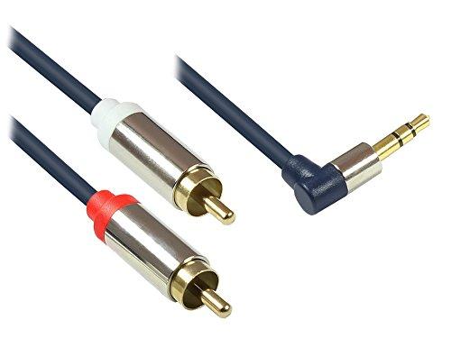Good Connections GC-M0064 Audio Anschlusskabel 3,5 mm, Klinkenstecker rechts abgewinkelt auf 2X RCA (Cinch) Stecker, OFC, Vollmetallgehäuse, 1,5m dunkel blau Audio Rechts
