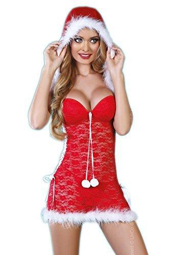 Livia Corsetti Livco schickes Dessous-Weihnachts-Set aus Kapuzen-Negligee mit verstärkten Cups und String, rot/weiß, Gr. S/M -