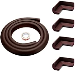 KiddySafe Edge Protectors Foam Baby Safety Bumper Guard - Brown (5 Meter Tape and 4 Corner Guards)