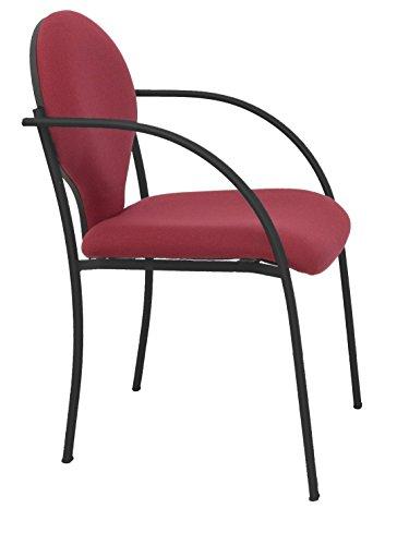 Silla confidente ergonómica con brazos fijos incorporados, apilable y estructura en color negro Asiento y respaldo tapizados en tejido BALI...