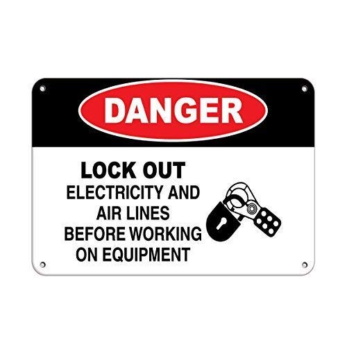Tin Sign Fashion Danger Lock Out Electricity and Air Lines Before Working Metal Aluminum Sign Wall Plaque for Indoor Outdoor 7.8x11.8 Inch -
