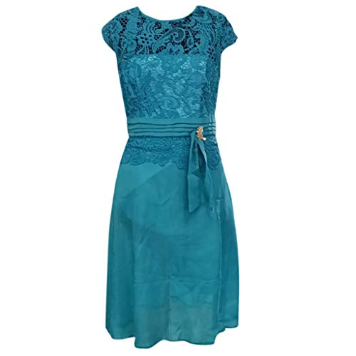 feiXIANG Damen Brautjungfer Kleid Kurzarm Slim Brautkleid Cocktail Ballkleid O-Ausschnitt Lace...
