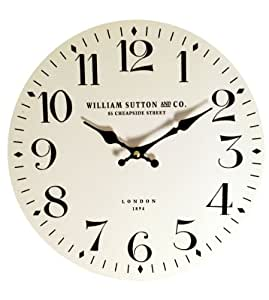 Wall Clock 28cm Cream And Black William Sutton And Co