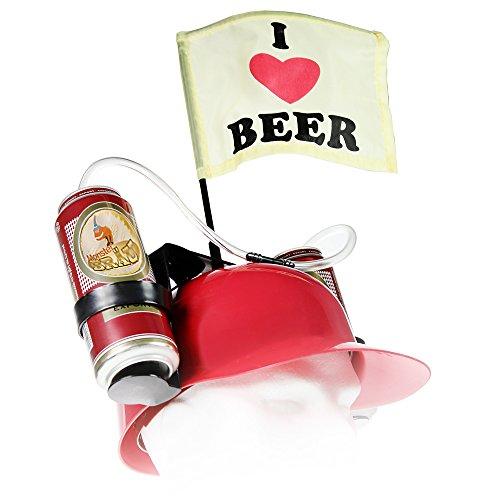 MostroMania - Casco per Birra con Cannuccia - Elmetto Rosso per Lattine - Cappello Portabirra - Accessorio per Feste - Accessorio da Spiaggia - Regali Originali